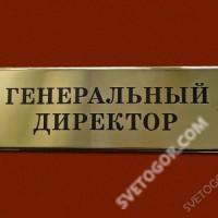 """Табличка из нержавеющей стали """"Генеральный директор"""""""
